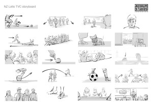 Storyboard for New Zealand Lotto TVC.